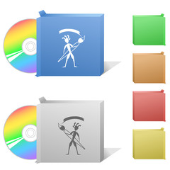 Ethnic little man with brush. Box with compact disc.