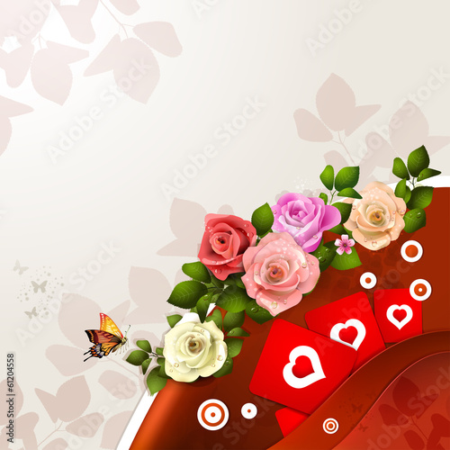 Valentine's day card with flowers and hearts
