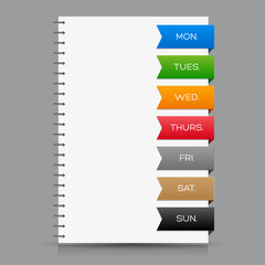 Weekly calendar with colorful ribbons