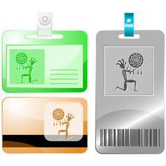 Ethnic little man as shaman. Vector id cards.