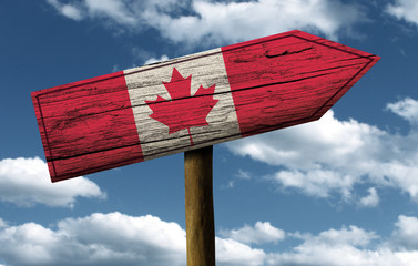 Wooden Canadian sign on a wonderful day