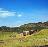 landscape with ancient amphitheater in Turkey