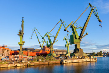 Big cranes in yard Gdansk, Poland.