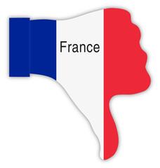 Frankreich Daumen runter, France thumbs down