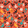 Cute abstract characters seamless pattern