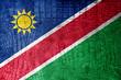 Namibia Flag painted on luxury crocodile texture