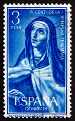 Postage stamp Spain 1967 St. Theresa, by Velazquez