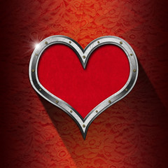 Metal Heart on Floral Background