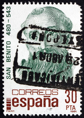 Postage stamp Spain 1981 St. Benedict, Patron Saint of Europe