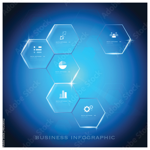Modern Hexagon Business Infographic Background Design Template
