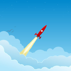 Red rocket flying to the stars