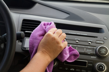 Washing car dashboard