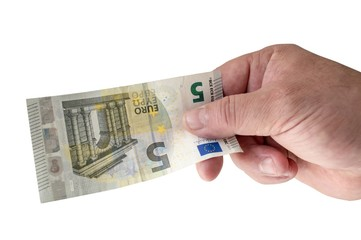 Male hand holding a new 5 Euro bill