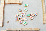 playing mahjong board game on textile table