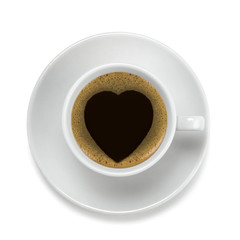 coffee cup with heart shape on the coffee