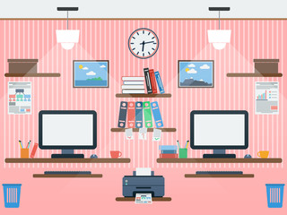 Common workspace flat vector illustration