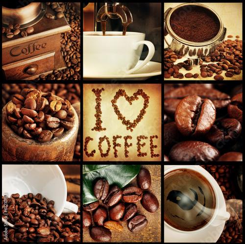 Obraz na Szkle coffee concept collage
