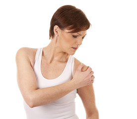 woman having a shoulder pain