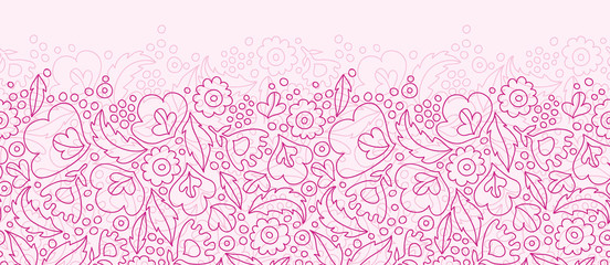 Vector pink flowers lineart horizontal seamless pattern