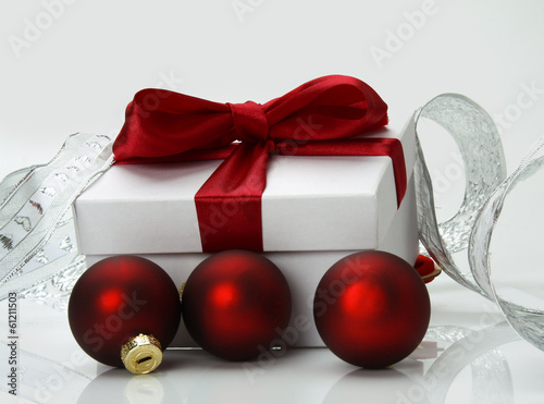 Christmas gift box with christmas balls.