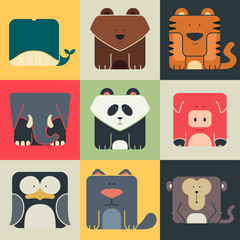 Set flat square icons of a cute animals