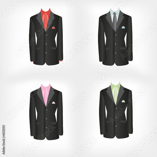 office dress, black jacket, shirt, tie, suit