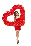 Love woman holding red heart shaped balloons