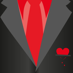 Suit with bleeding heart