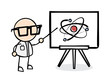 Scientist Pointing at Atom on Whiteboard