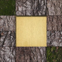 Bark with a moss tile and bare wood frame