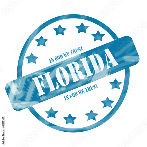 Blue Weathered Florida Stamp Circle and Stars