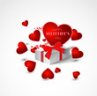 abstract valentine background with heart and present with bow