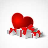 collection of gifts with bow and ribbons and big red heart