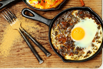 Spinach Dal and Egg Skillet Breakfast