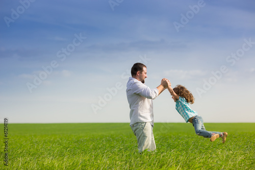 Father and child having fun