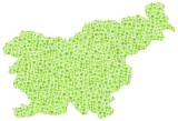 Map of Slovenia - Europe - in a mosaic of green squares