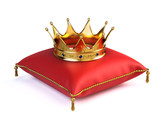 Gold crown on red pillow - 61214554