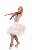 woman in white dress plays violin