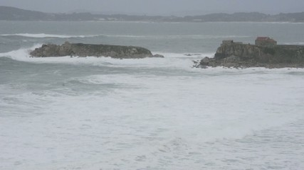 Atlantic temporal Coastal, the power of the waves Galicia, Spain