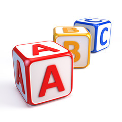 Alphabet ABC cubes isolated on white
