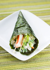 Individual Sushi Cone in Small White Plate