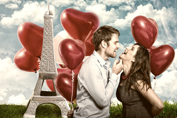 paris love couple