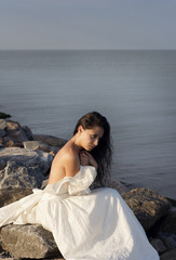 Beautiful bride at the sea