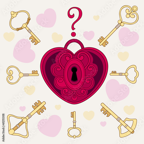 The lock in the form of heart and keys. Vector illustration.