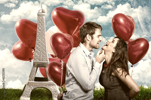 canvas print picture paris love couple