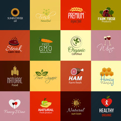 Set of Food and Drinks Labels