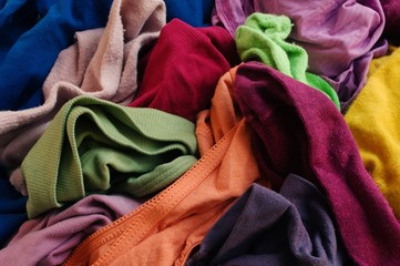 Heap of disarranged colorful clothes