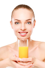 young woman with orange juice, isolated on white background.