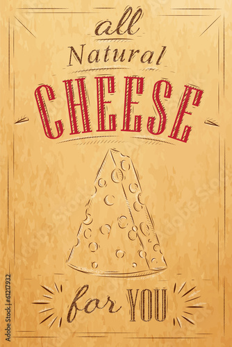 Poster lettering all natural cheese for you drawing on kraft