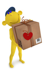 3D yellow people. Valentines. Postman with the box to the Valent